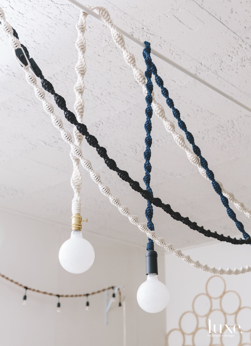 Chien illuminates her studio with her Helix Lights, which she also makes in an outdoor version.