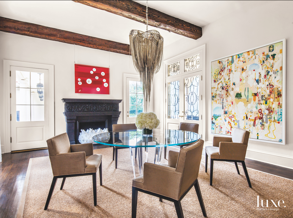 eclectic dining room neutral red...
