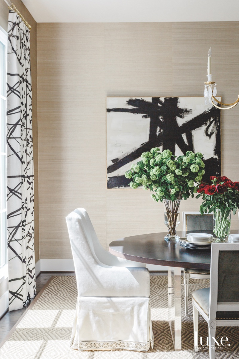 contemporary neutral dining room black...