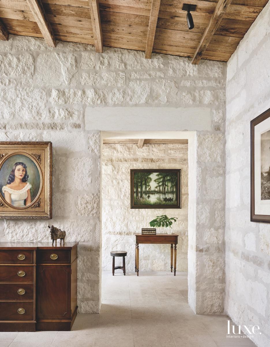 contemporary hall limestone portrait mahogany