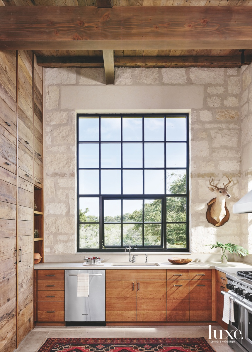 contemporary kitchen wood cabinetry glass...