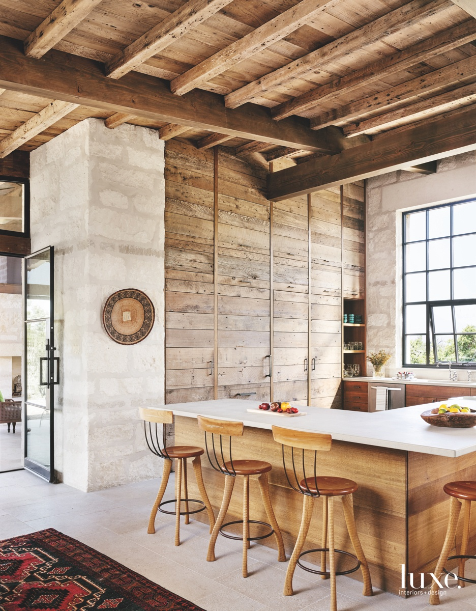contemporary kitchen peninsula countertop brown