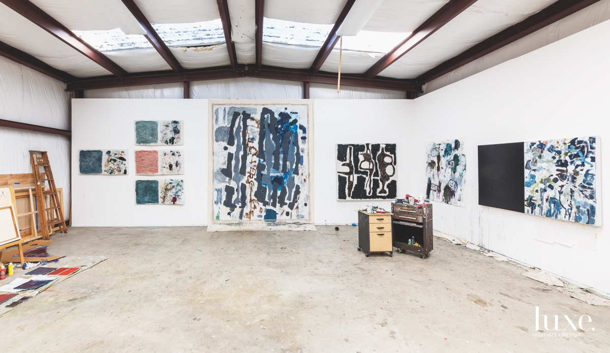 In his Fort Worth studio, Battle retains his used palettes.