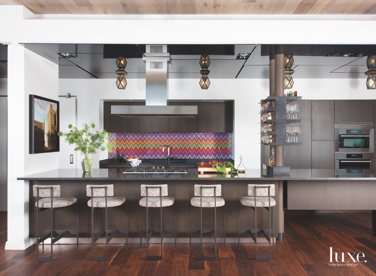 contemporary brown kitchen barstools colorful...