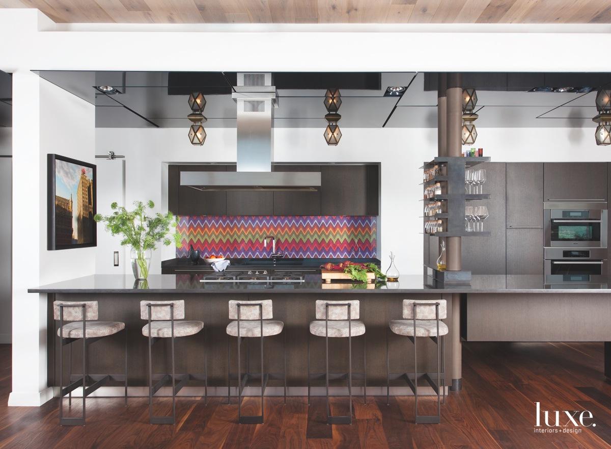 contemporary brown kitchen barstools colorful backsplash
