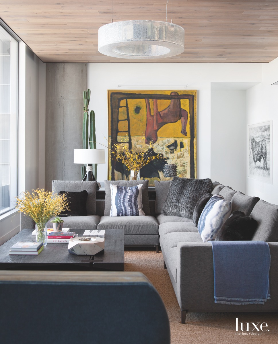 contemporary living room gray couch...