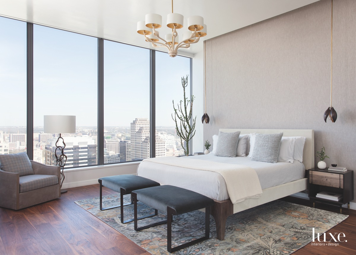 contemporary neutral white gray bedroom...
