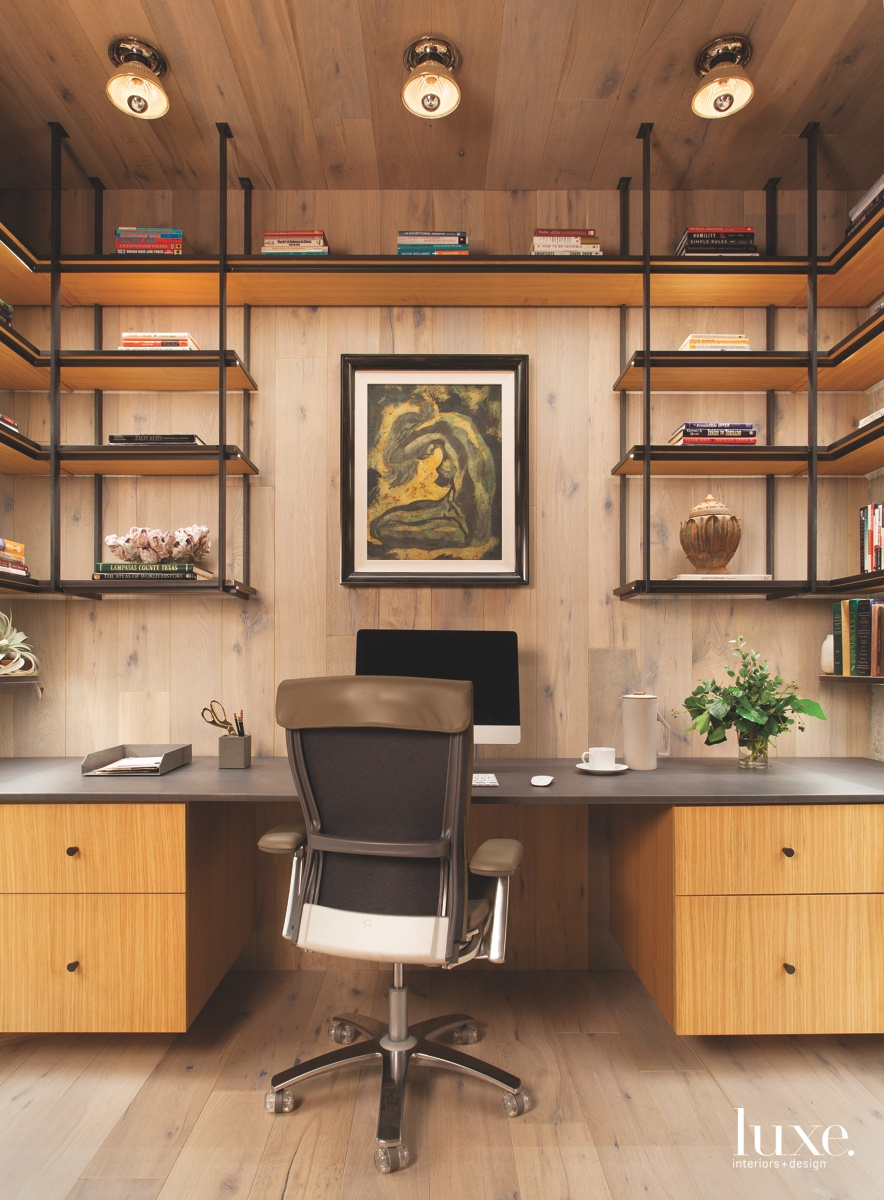 contemporary office study steel wood shelving art