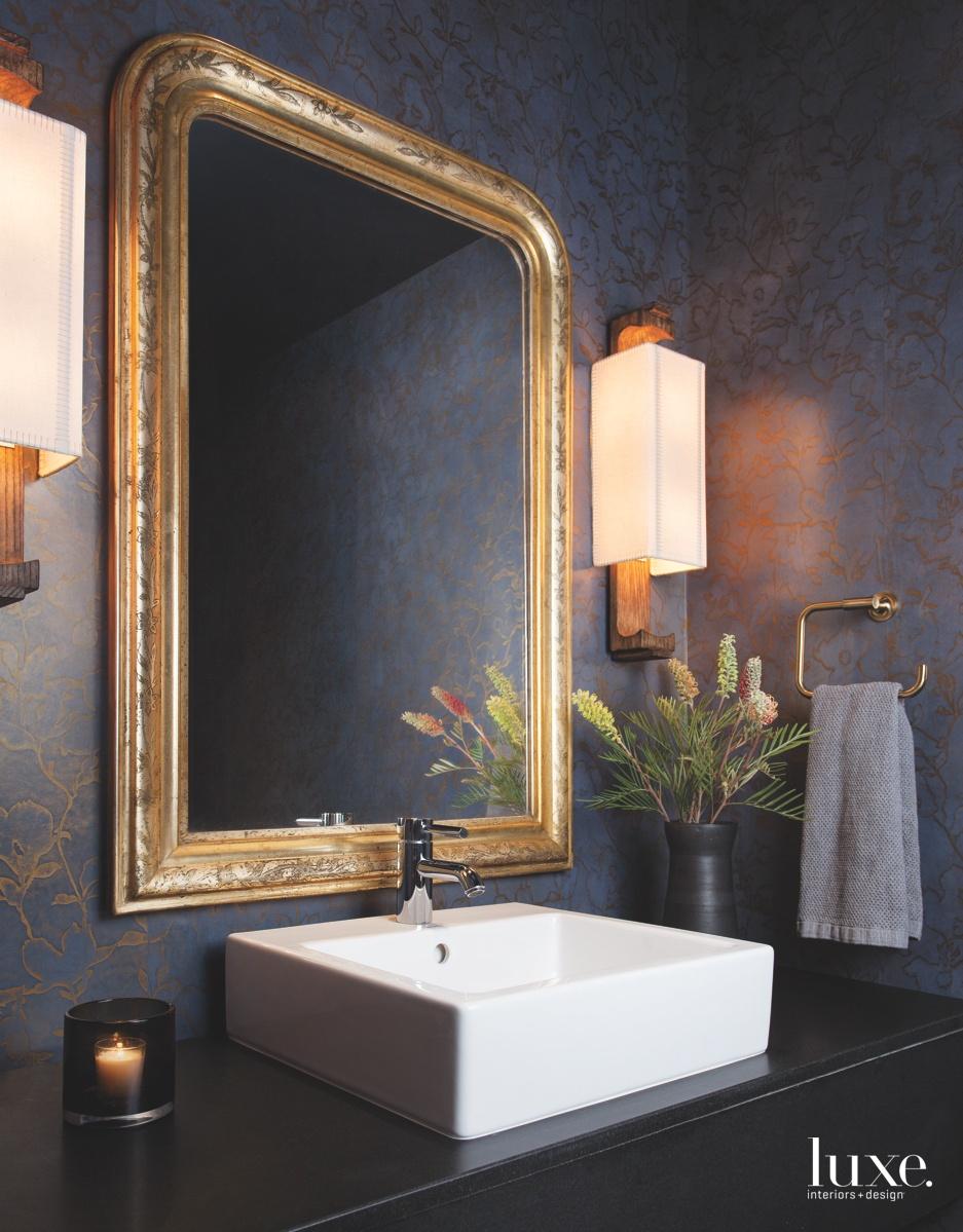 contemporary bathroom mirror black granite...