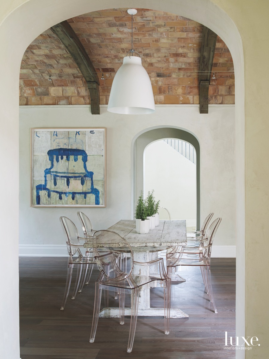 contemporary dining room ghost chairs...