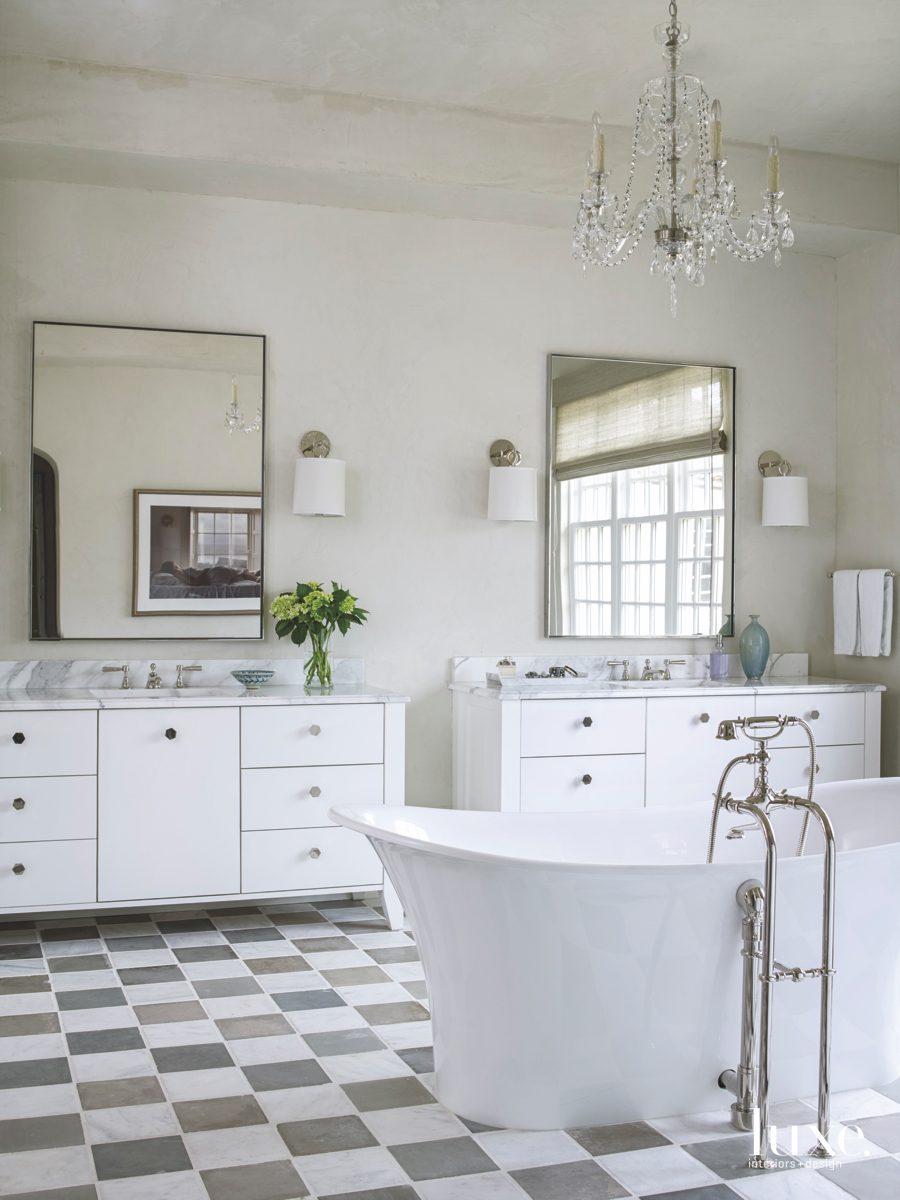 contemporary neutral bathroom checkerboard floor...