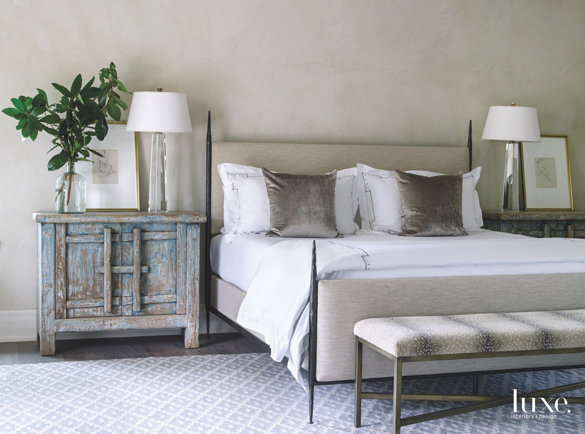 contemporary bedroom gray palette iron...