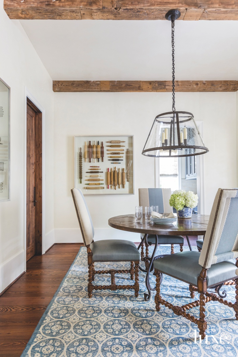 traditional dining area blue accents