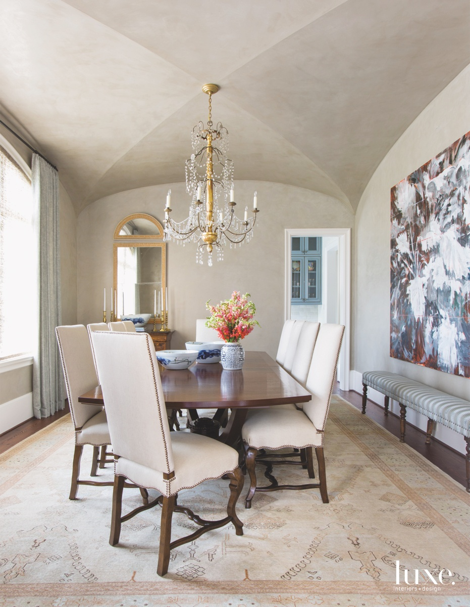 traditional dining room chandelier neutral