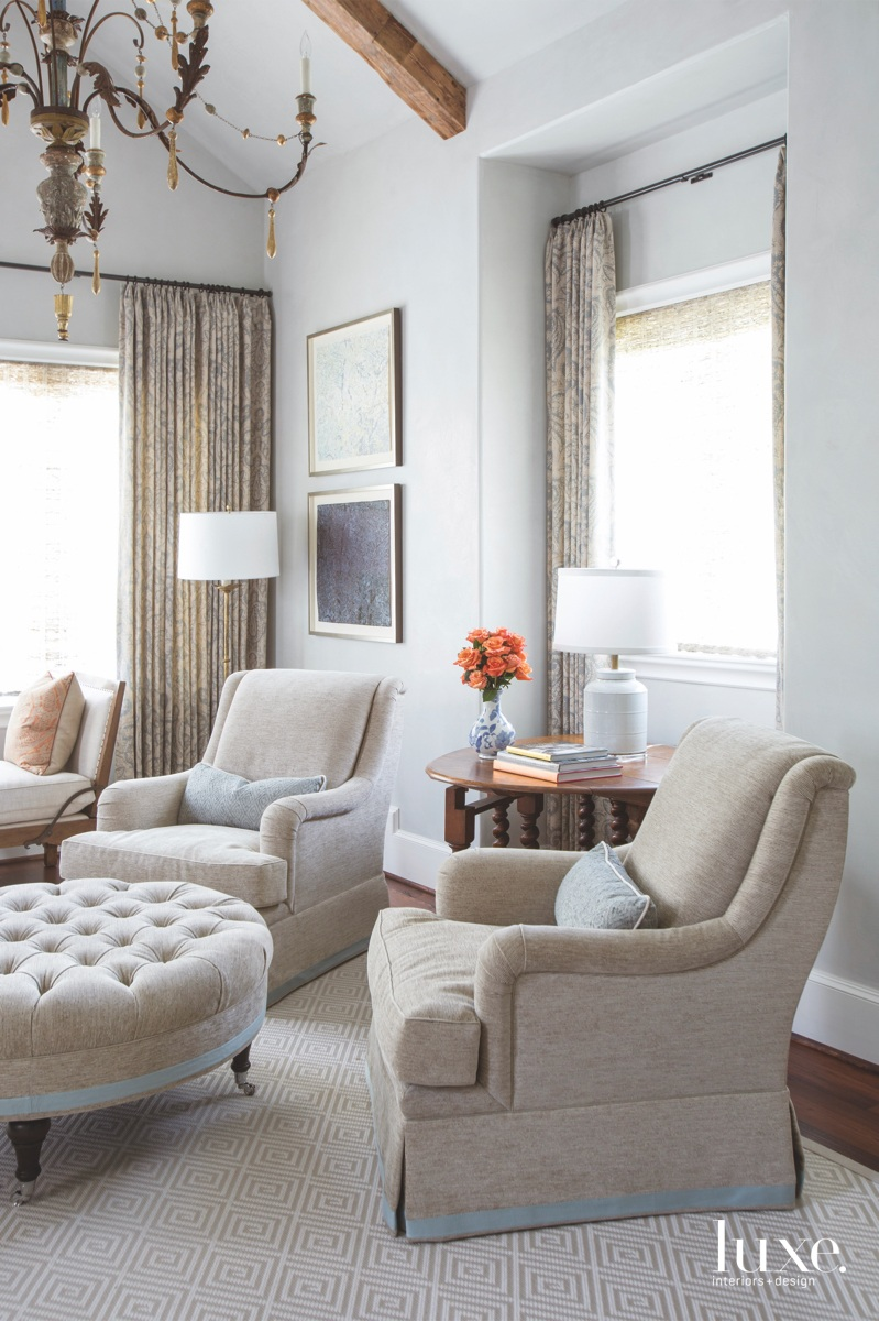 traditional neutral sitting area swivel...