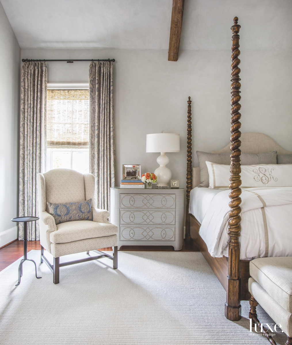 traditional neutral bedroom iron side...