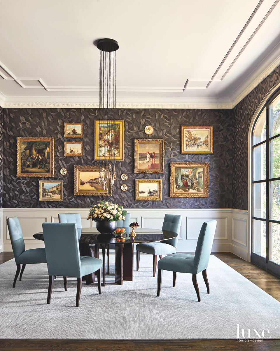 traditional dining room chandelier paintings