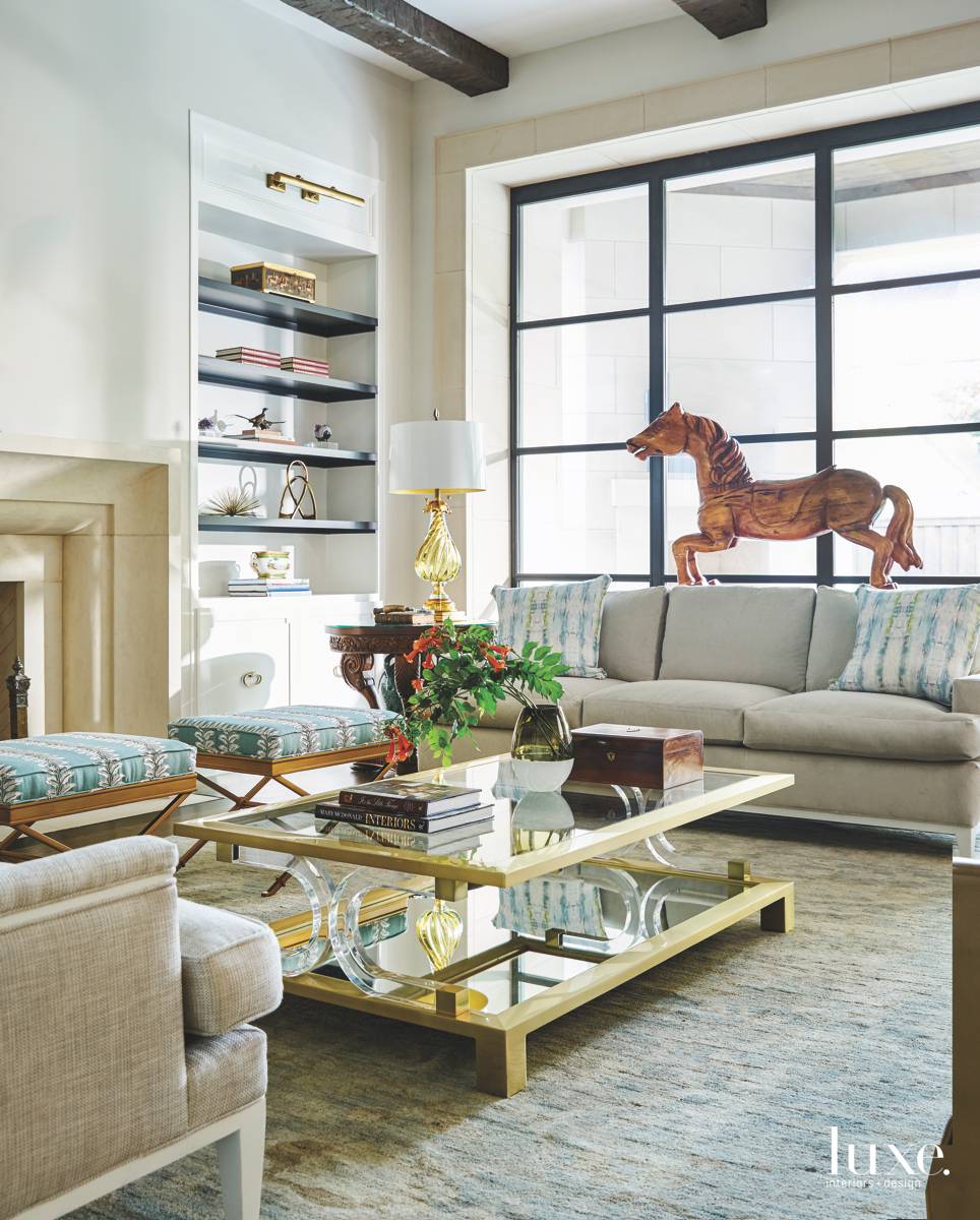 traditional family room neutral blue...