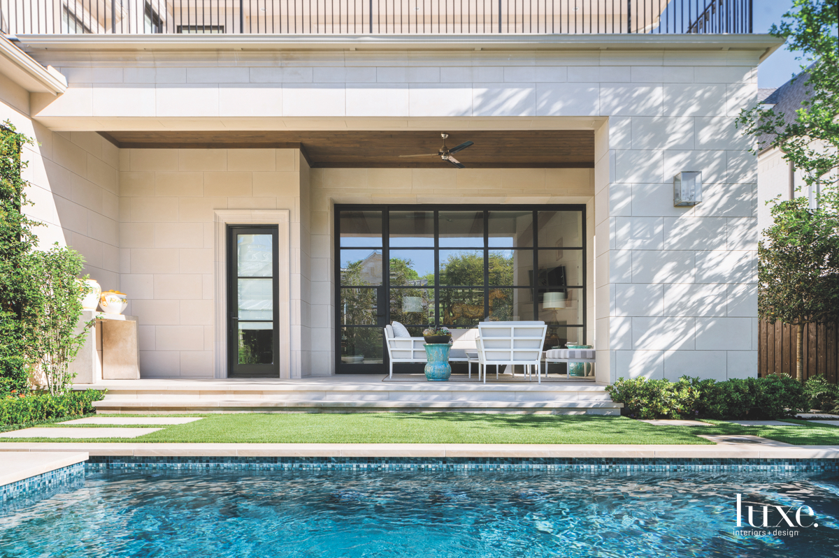 traditional exterior pool patio sitting...