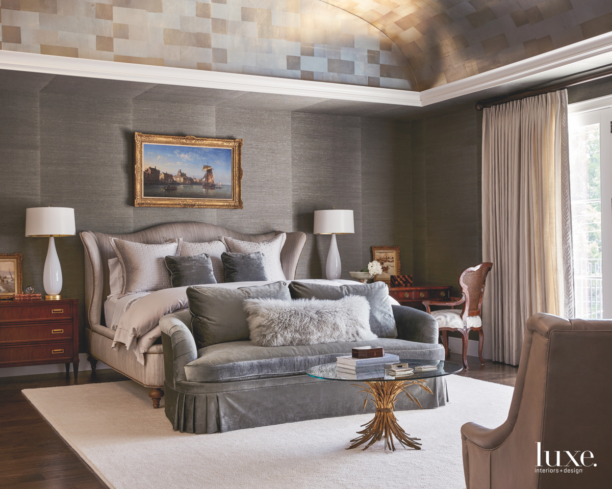 traditional bedroom gray platinum leaf...