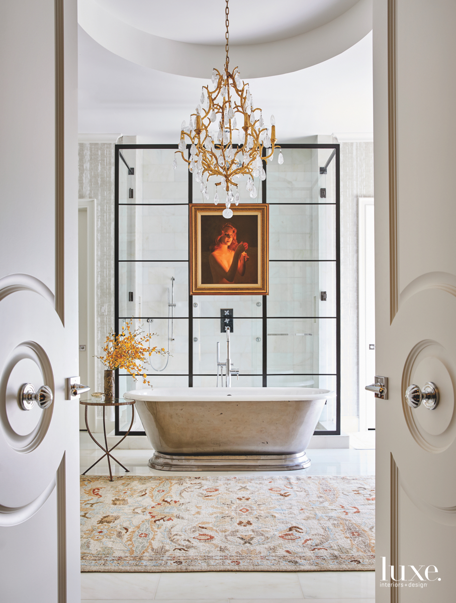 traditional white bathroom gold accents