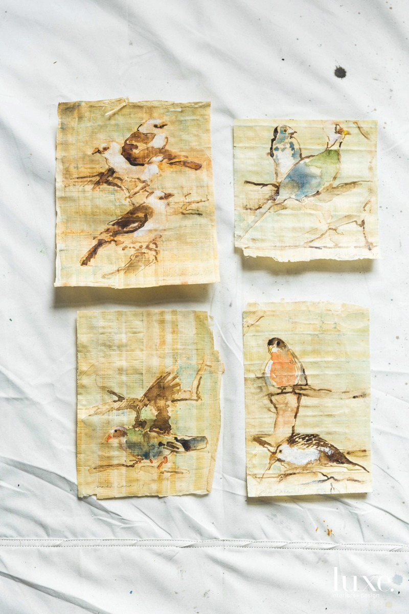 Recent work of artist Mary H. Case--whose studio is in The Woodlands, near Houston--includes sepia-ink bird drawings, created using brushes, bamboo pens, watercolor and gouache.