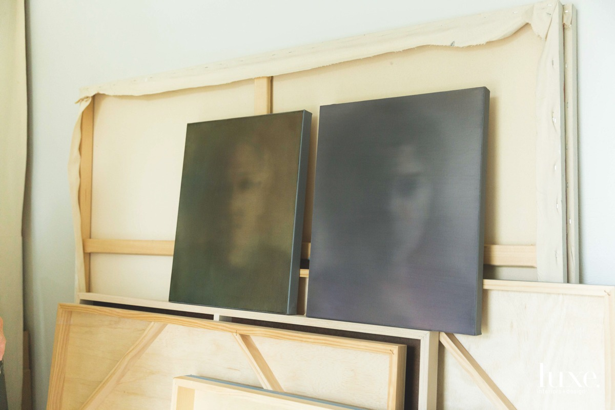 Two of Case's portraits feature graphic oils she blended for a blurred effect.