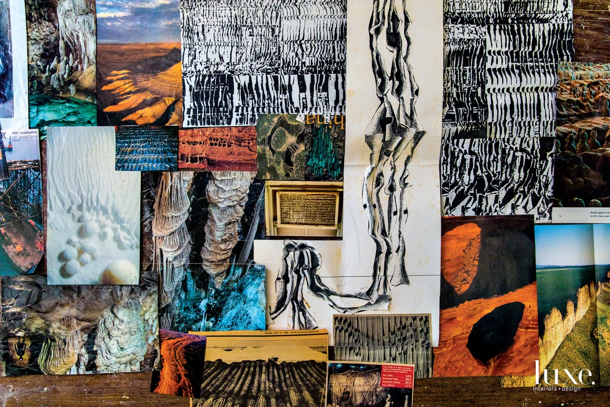 "An inspiration wall in her studio includes photos of calcite cave formations, eroded earth and a smashed refrigerator grate. ""I am drawn to images with linear repetitive or progressive rhythm,"" she explains."