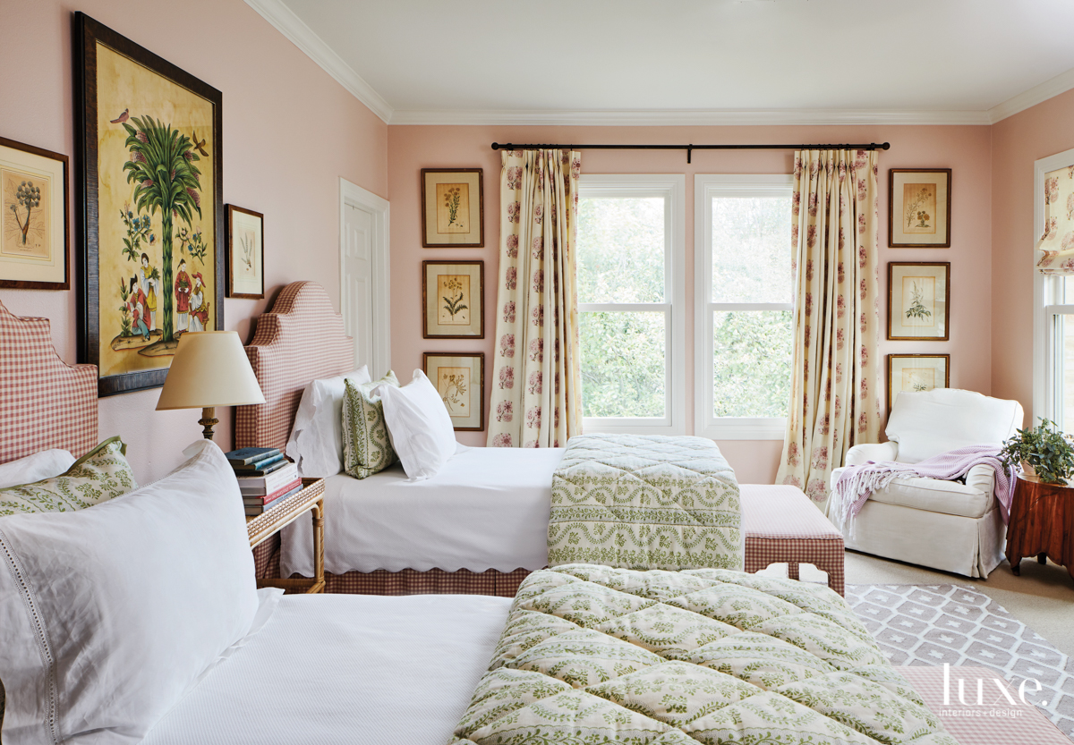 traditional pink bedroom green accents