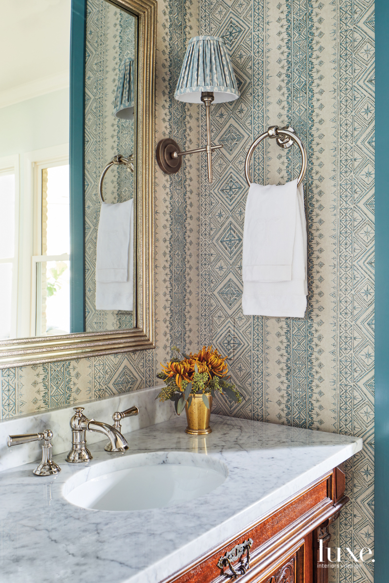 traditional bathroom blue accents
