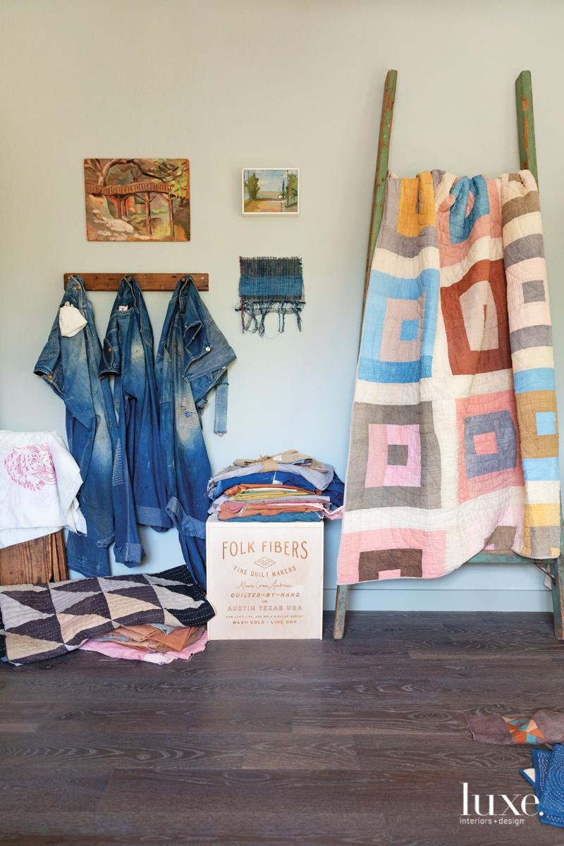 Ambrose hand-stitches each quilt using Japanese sashiko thread before packaging it in an heirloom cedar box.