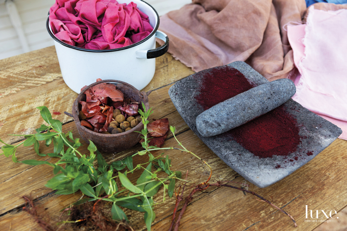Ambrose uses plants and found objects to produce her own natural dyes.