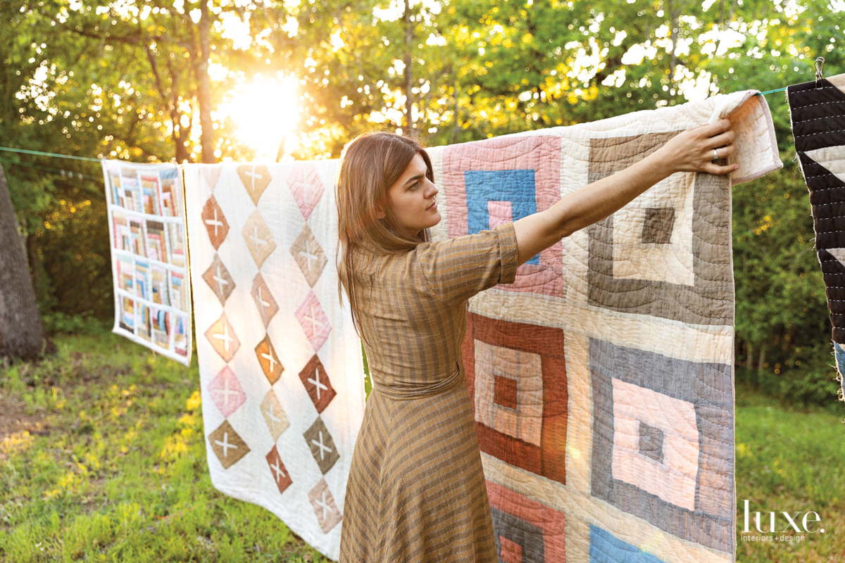 Fiber artist Maura Ambrose handcrafts one-of-a-kind quilts on her 10-acre property outside Austin.