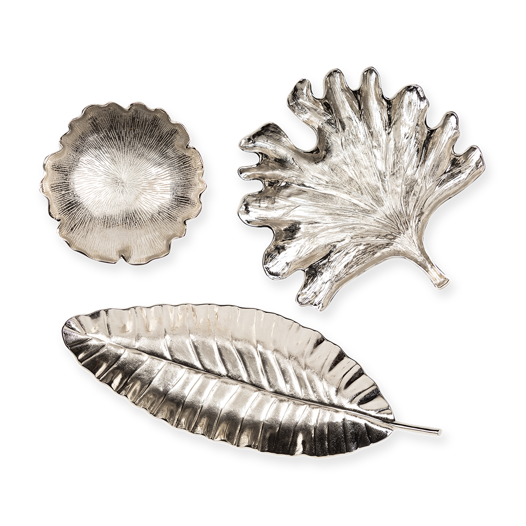Clockwise from top left: Leaf Bowl Silver ($70), Leaf Plate Silver ($80), Leaf Tray Silver ($85)/The Chinoiserie