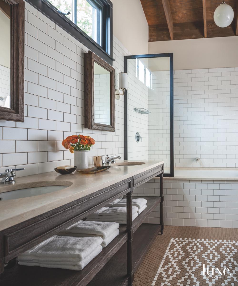 rustic bathroom white tile walls...