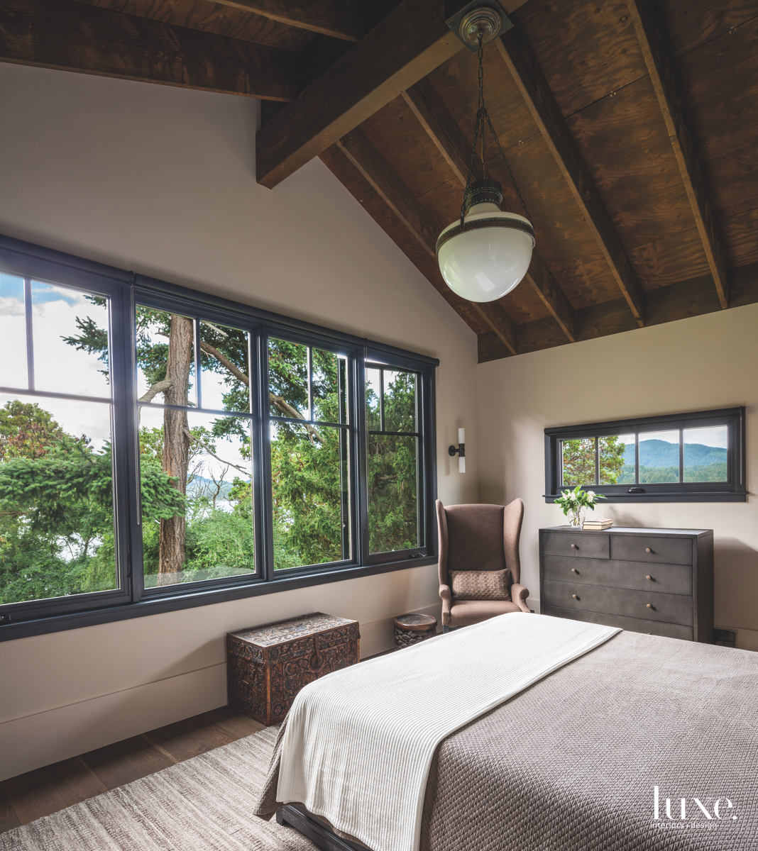 rustic neutral bedroom glass windows...