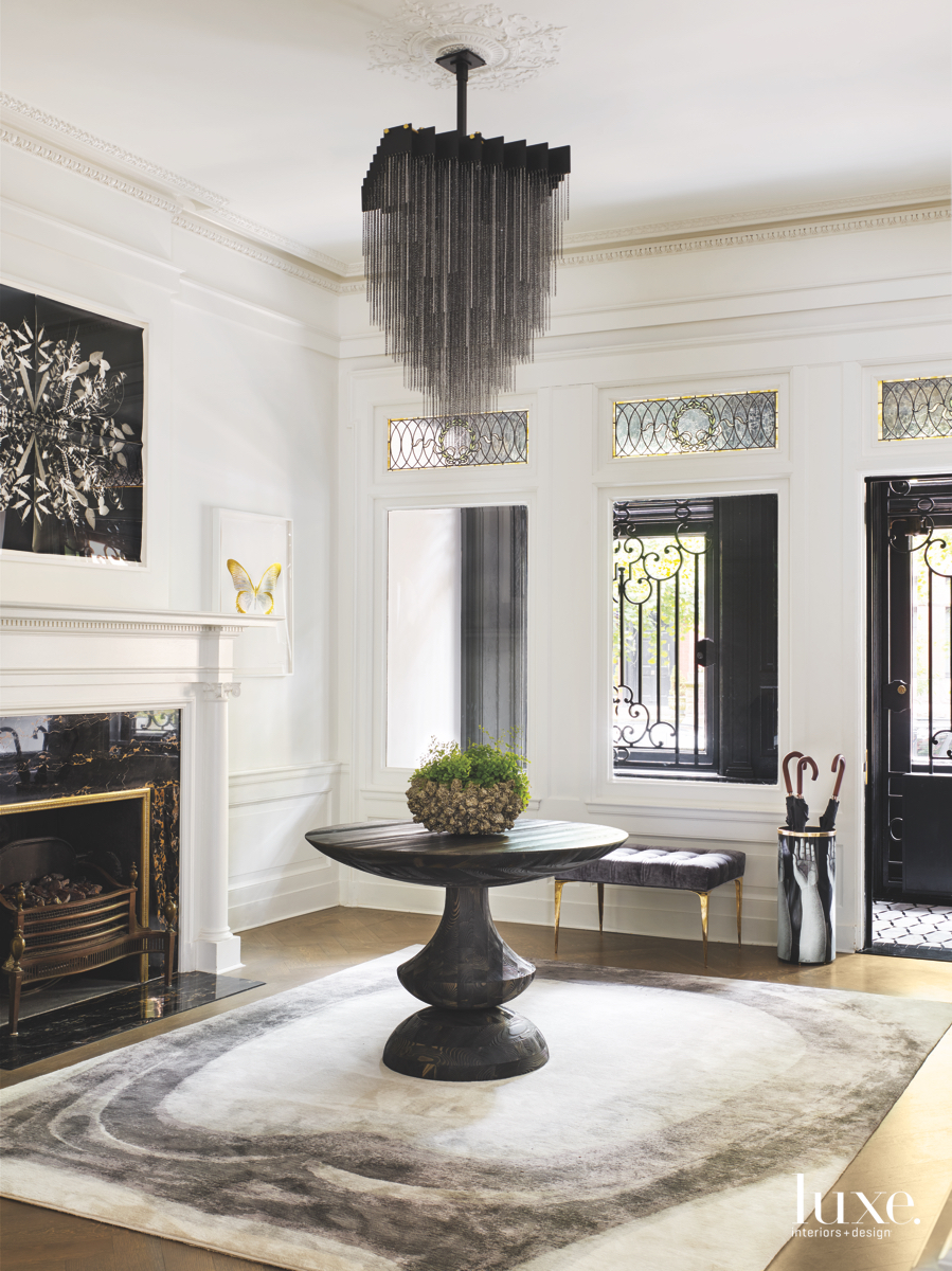 modern entry foyer black chandelier