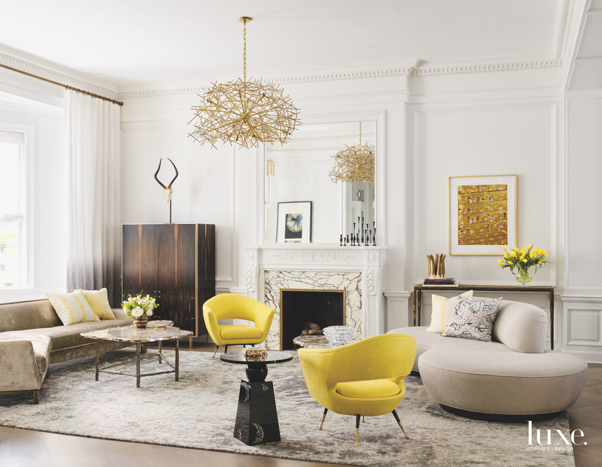 modern living room yellow accents...