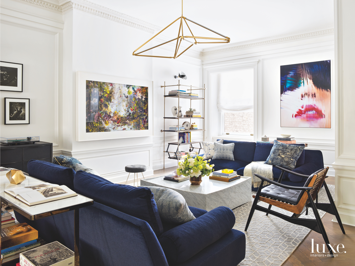 modern living room navy blue...