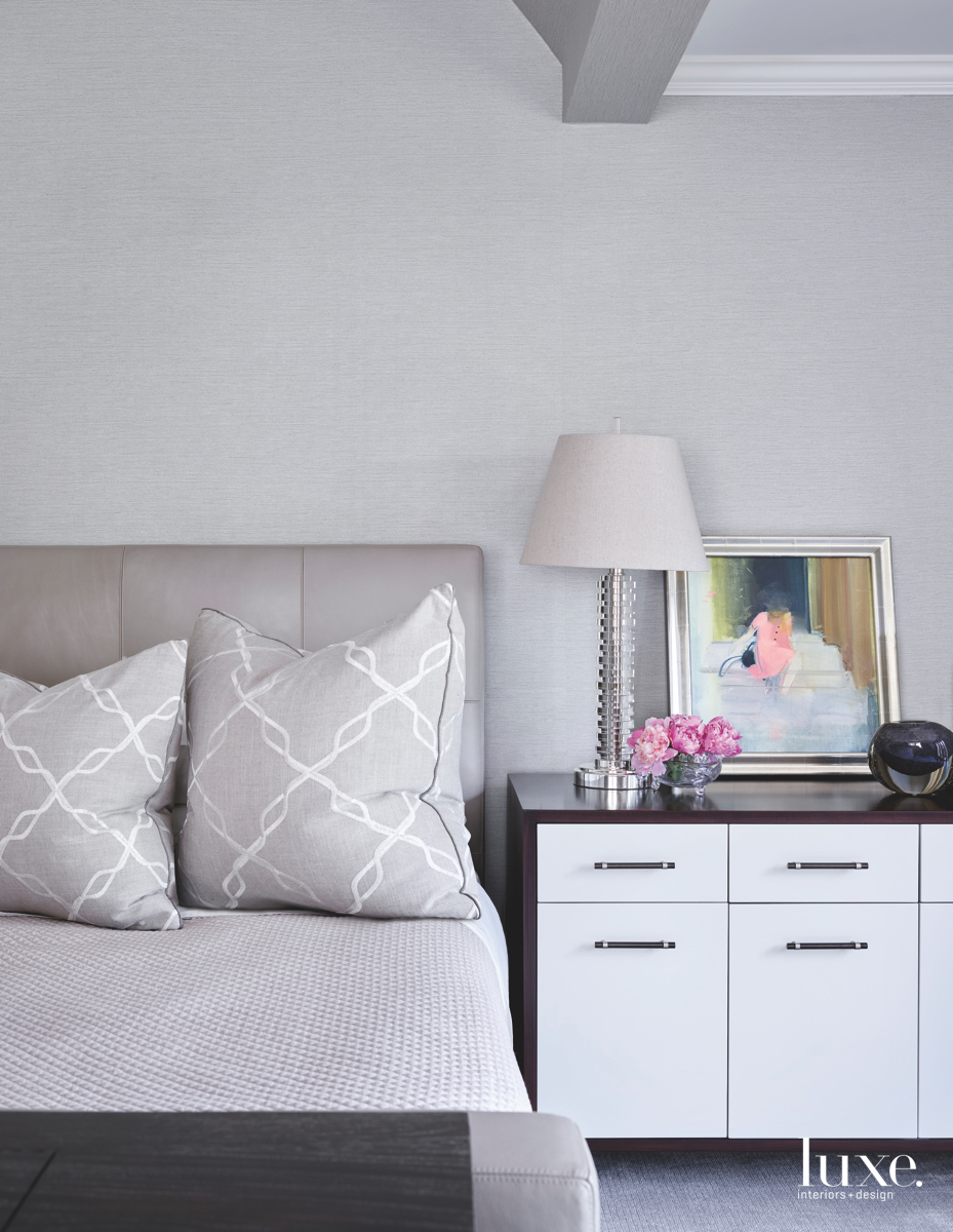 transitional bedroom gray white cabinetry