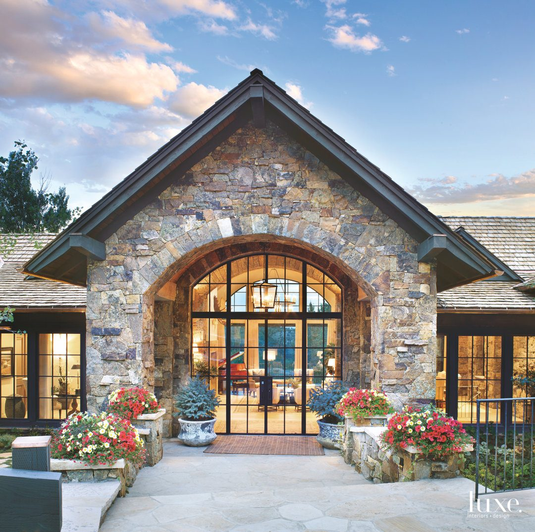 transitional exterior entry glass doors...
