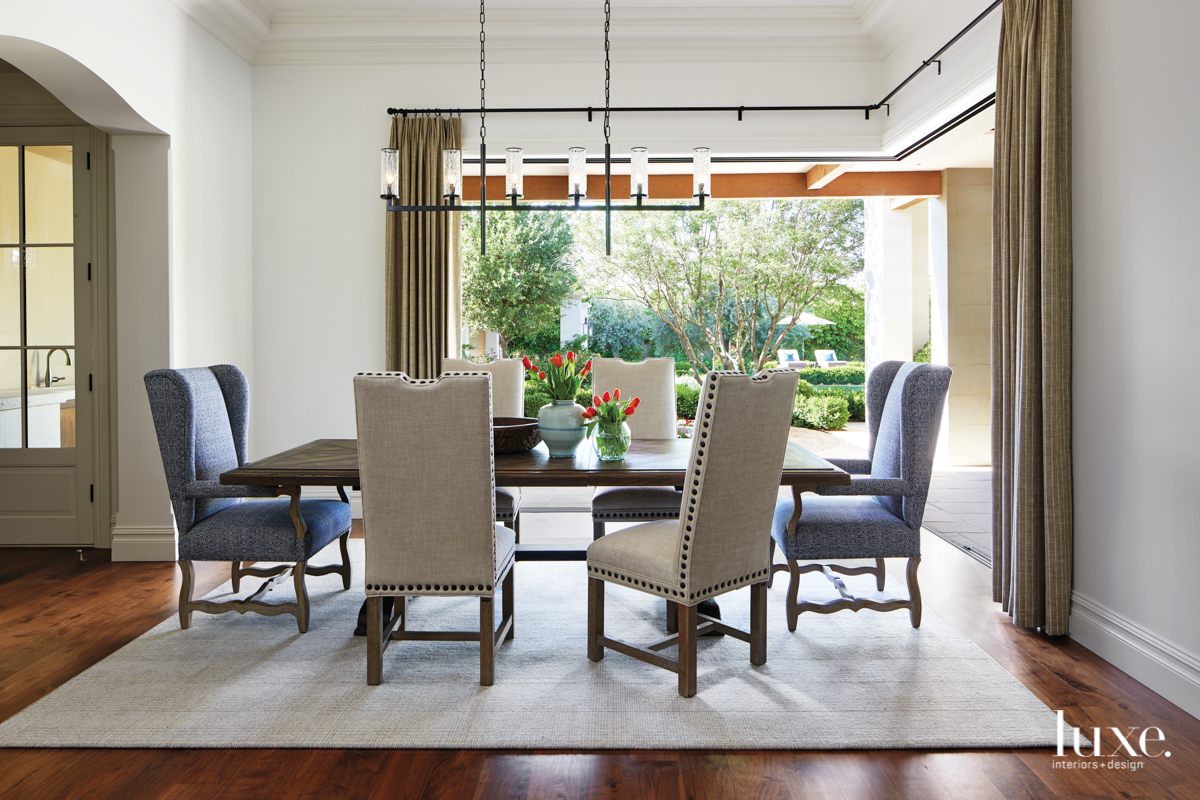 dining room with retractable doors