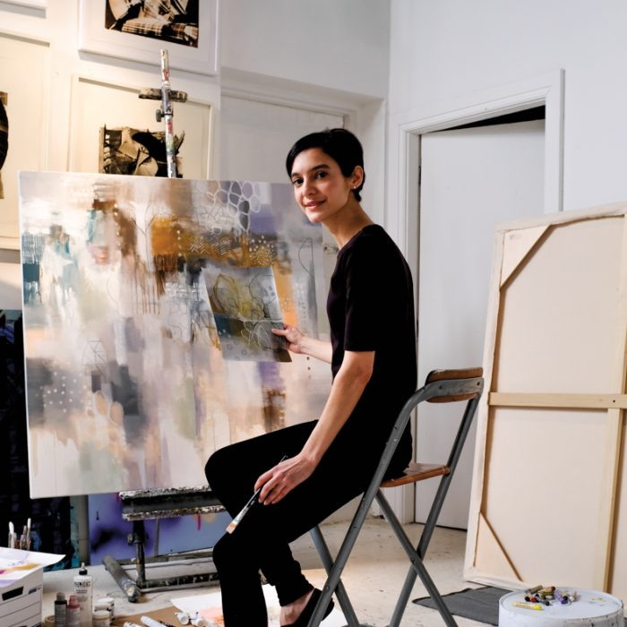 Chicago painter Sheila Arora in her studio.