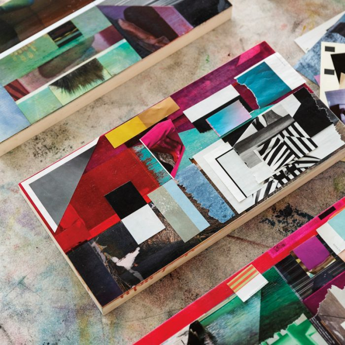 Teresa Booth Brown uses collage and paint to create color artwork.