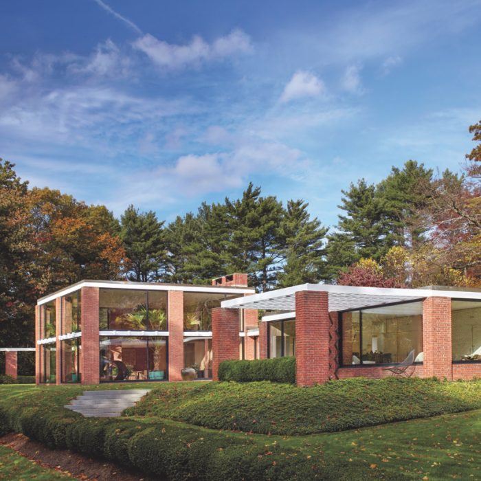 Completed in 1956, the Boissonnas House is one of five significant houses in New Canaan by architect Philip Johnson.
