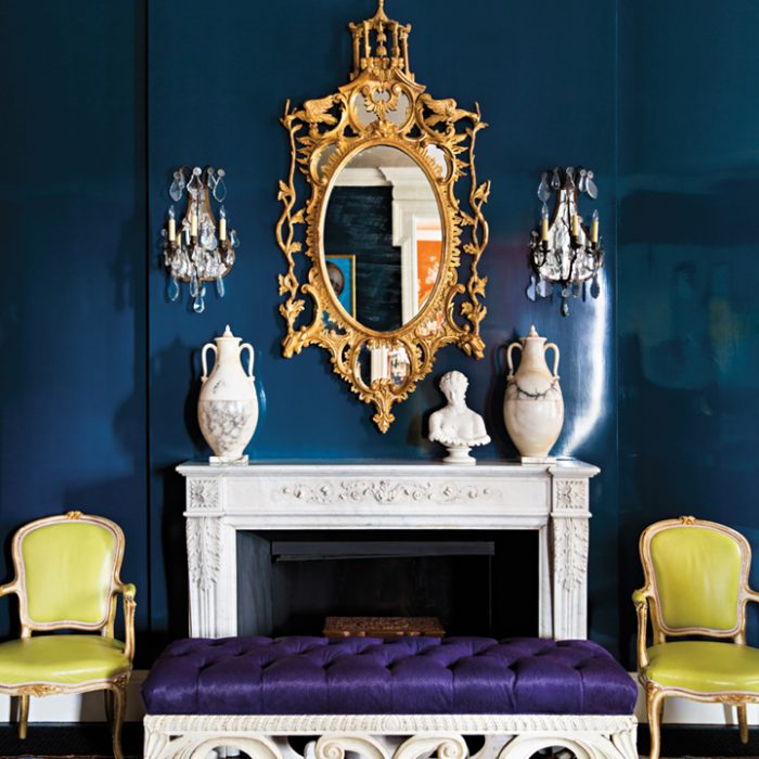 blue room gold mirror purple bench green chairs