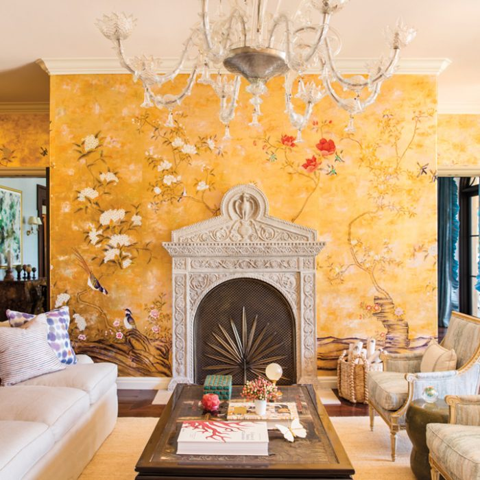 formal living room yellow chinoiserie wallpaper