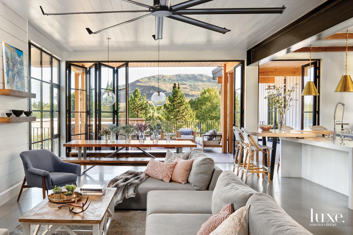 modern farmhouse living room and...