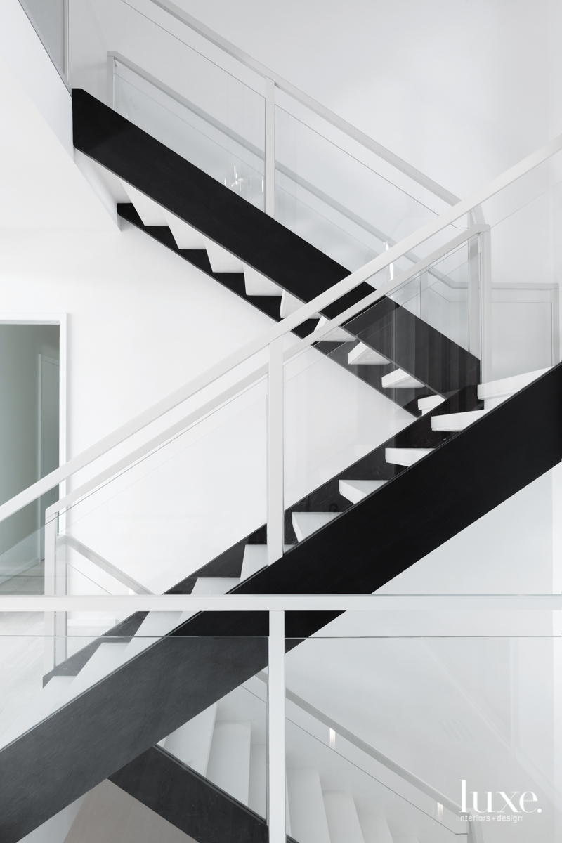 contemporary black and white staircase