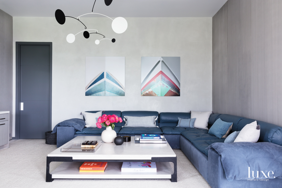 contemporary media room blue sectional